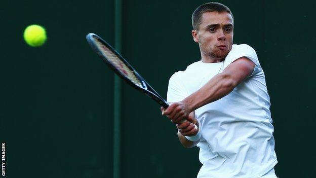 GB tennis player Joshua Sapwell in action