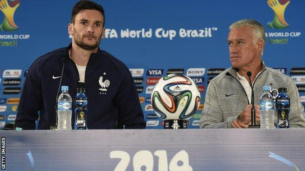 France goalkeeper Hugo Lloris and coach Didier Deschamps