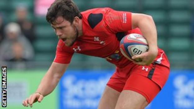 Adam Thomas competed during the IRB Glasgow Sevens, where Wales beat Japan 29-12 in the final of the Shield