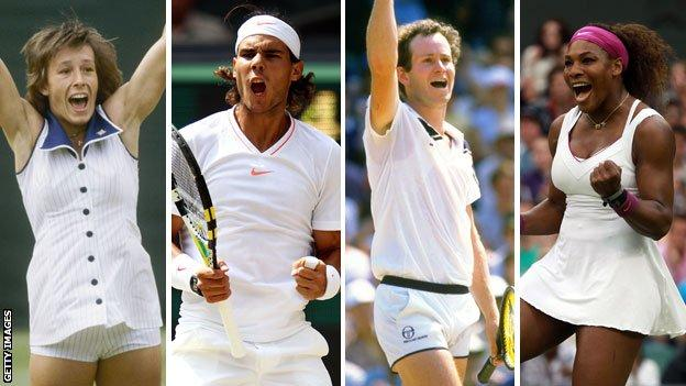 Martina Navratilova, Rafael Nadal, John McEnroe and Serena Williams
