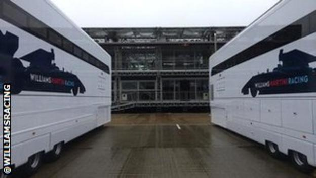 Williams trucks in the wet weather at Silverstone