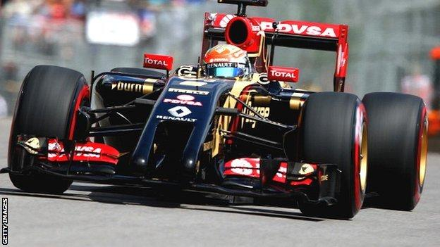 Lotus car with Romain Grosjean driving