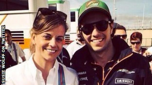 Susie Wolff poses with Sergio Perez on Saturday morning