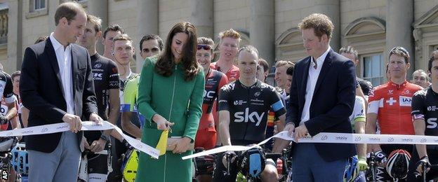 The Duke and Duchess of Cambridge and Prince Harry and Tour de France 2013 winner Chris Froome