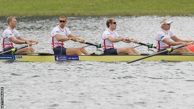 Great Britain's men's four in action at the European Championships