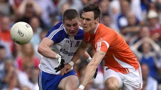 Dermot Malone and Mark Shields show their determination to gain possession as Armagh defeat Monaghan