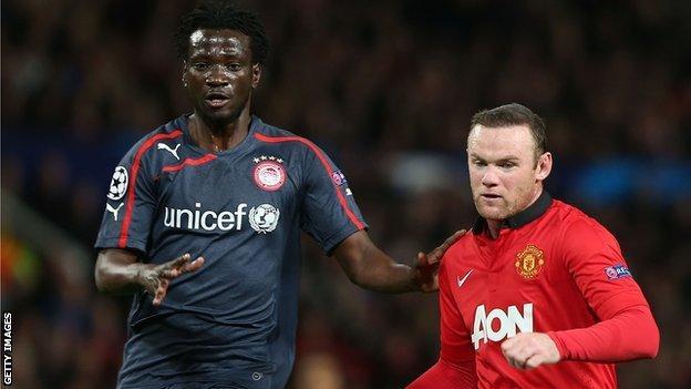 Delvin N'Dinga (left) battles against Manchester United's Wayne Rooney