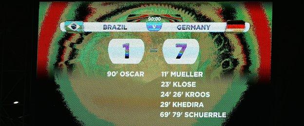 The scoreboard reflects Brazil's biggest defeat in World Cup history