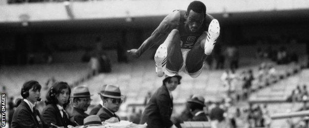 US long jumper Bob Beamon at the Mexico Olympics