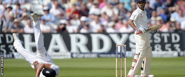 Alastair Cook catches Ajinkya Rahane at silly point shortly after tea