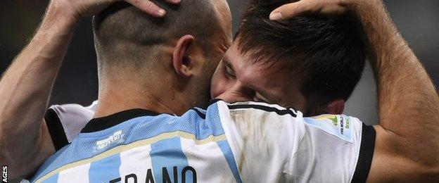 Javier Mascherano and Lionel Messi