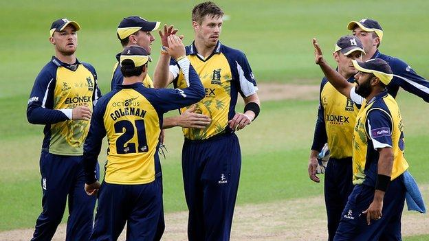 Bears players celebrate a wicket in the home defeat by Nottinghamshire