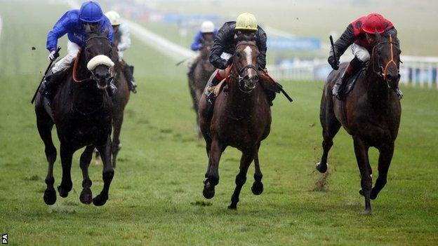 Cavalryman (left) ridden by Silvestre De Souza beats Hillstar (centre) ridden by Frankie Dettori to win the Princess of Wales's Stakes