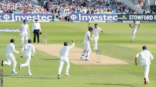 England captain Alastair Cook is bowled for five