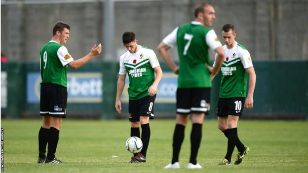 Aberystwyth Town players look dejected during their 5-0 home defeat to Derry City in the Europa League.