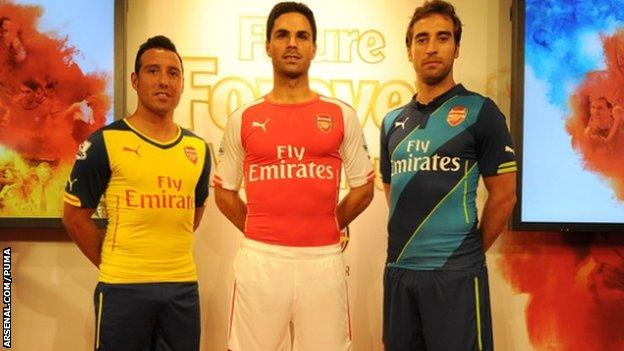 Arsenal's home, away and cup kits are unveiled at Carnaby Street in London