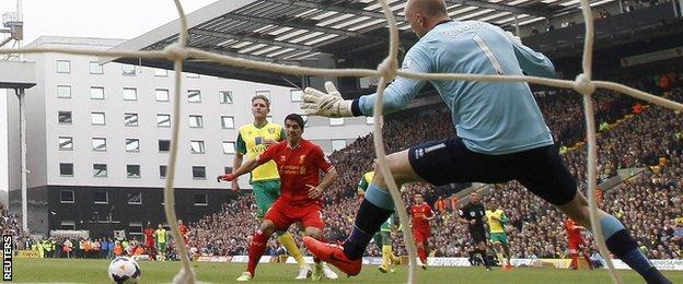 Luis Suarez scores against John Ruddy