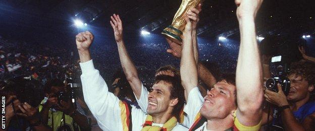 Lothar Matthaus lifts the World Cup in 1990.