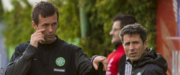 Celtic duo Ronny Deila (left) and John Collins will take charge of their first competitive match against KR