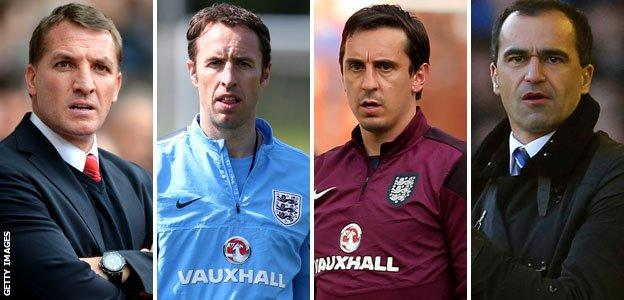 Brenden Rodgers, Gareth Southgate, Gary Neville and Roberto Martinez