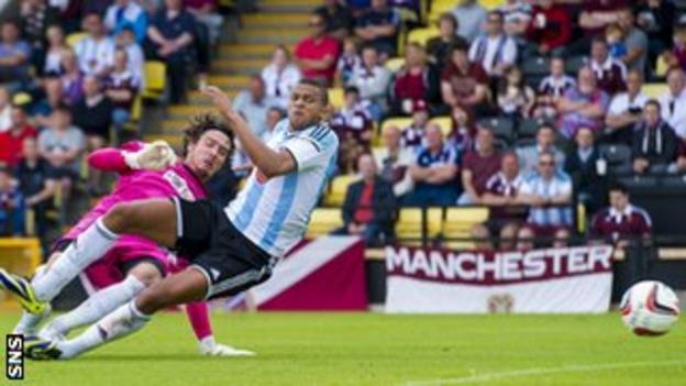 Fellow trialist Osman Sow scored Hearts' third goal
