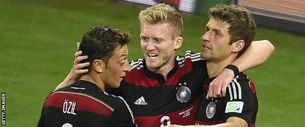 Mesut Ozil, Andre Schurrle and Thomas Muller