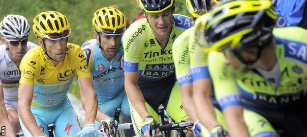 Vincenzo Nibali and Alberto Contador in the 2014 Tour de France