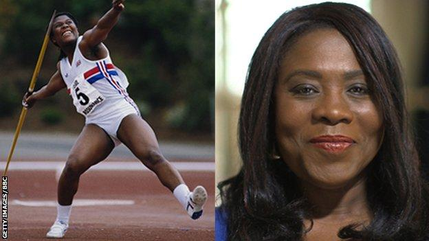 Tessa Sanderson, pictured in 1985 and today