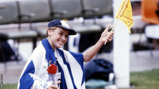 Liz Lynch celebrating at the 1986 Commonwealth Games