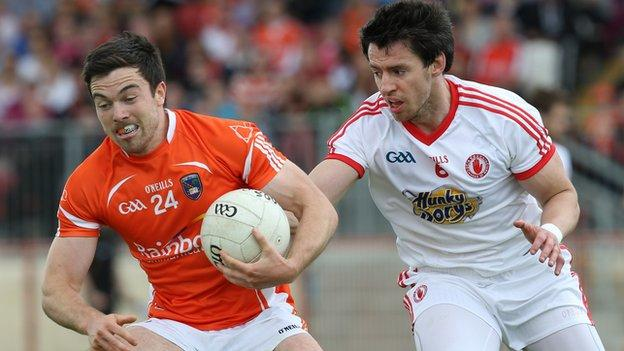 Aidan Forker of Armagh in action against Tyrone's Mattie Donnelly