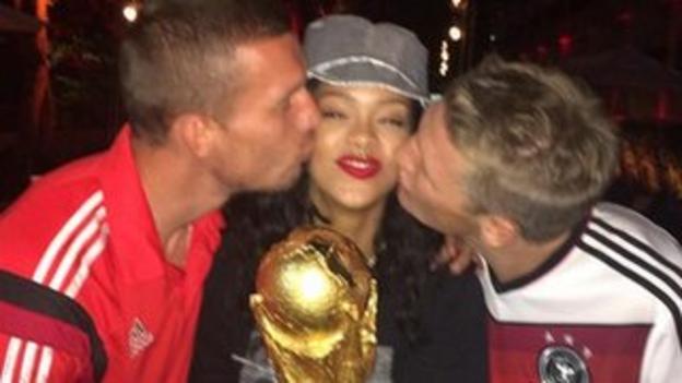 Rihanna with Lukas Podolski and Bastian Schweinsteiger