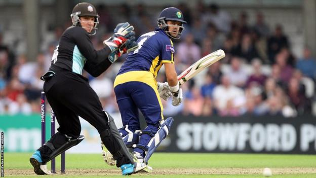 Jacques Rudolph hits another boundary for Glamorgan against Surrey in the T20 Blast at the Oval