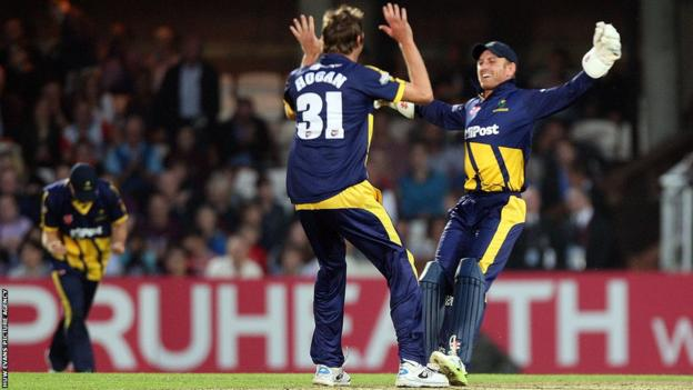 Glamorgan players celebrate victory by four runs over Surrey at the Oval in the T20 Blast