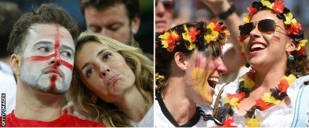 England supporters and Germany supporters