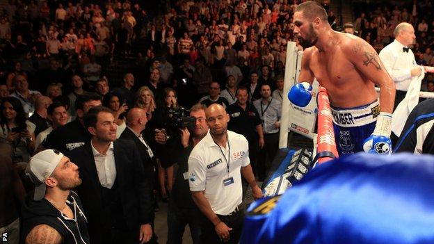 Tony Bellew taunted Nathan Cleverly (baseball cap) following his victory over Julio Cesar Dos Santos in July