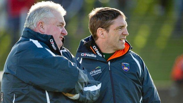 Armagh manager Paul Grimley with Kieran McGeeney