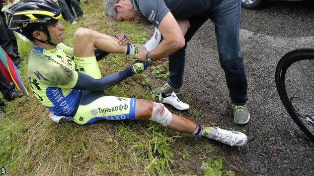 Alberto Contador was injured at the Tour de France