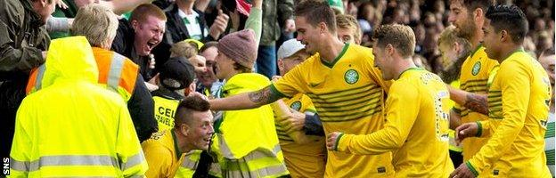 Callum McGregor celebrates after his winning goal in Iceland