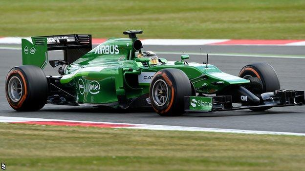 Caterham's F1 driver Kamui Kobayashi in action during the second practice session before the British Grand Prix