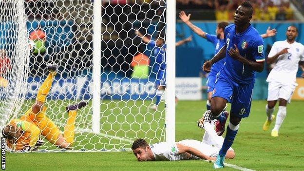 Mario Balotelli scores for Italy against England