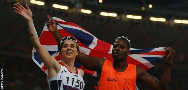 Libby Clegg and Mikail Huggins won silver medals at the London Olympics