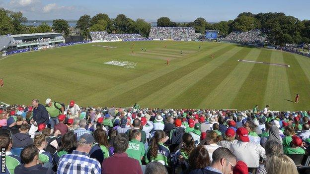 A big crowd watched England play Ireland at Malahide in 2013