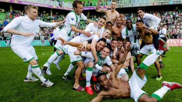 FC Groningen players celebrate defeating AZ Alkmaar