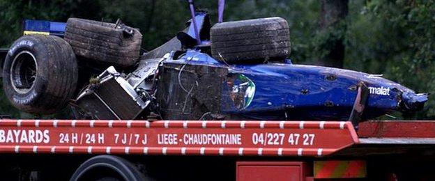 Luciano Burti's crashed Prost