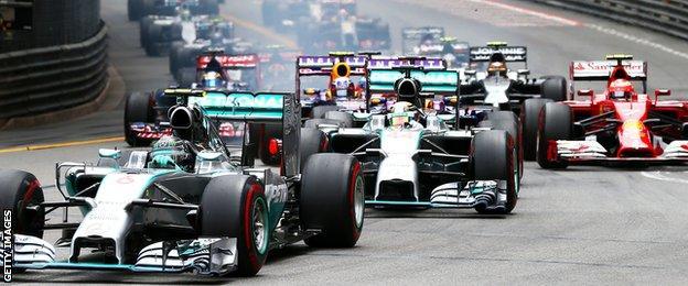 Lewish Hamilton and teammate Nico Rosberg during Monaco Grand Prix
