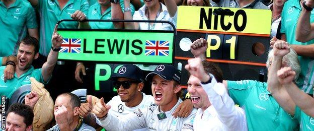 Lewish Hamilton and team-mate Nico Rosberg after the Austrian Grand Prix