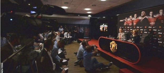New Manchester United manager Louis Van Gaal speaks to the media during a news conference