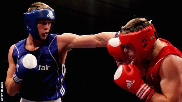 Warren Baister throws a punch