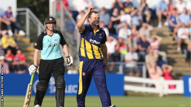 Graham Wagg of Glamorgan celebrates taking a wicket