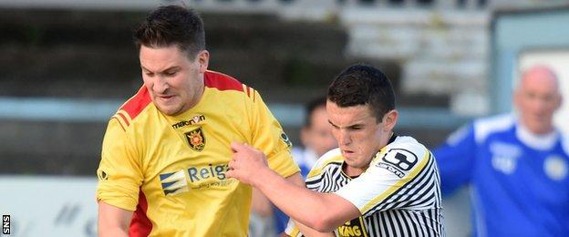 Albion Rovers' John Gemmell and St Mirren's John McGinn